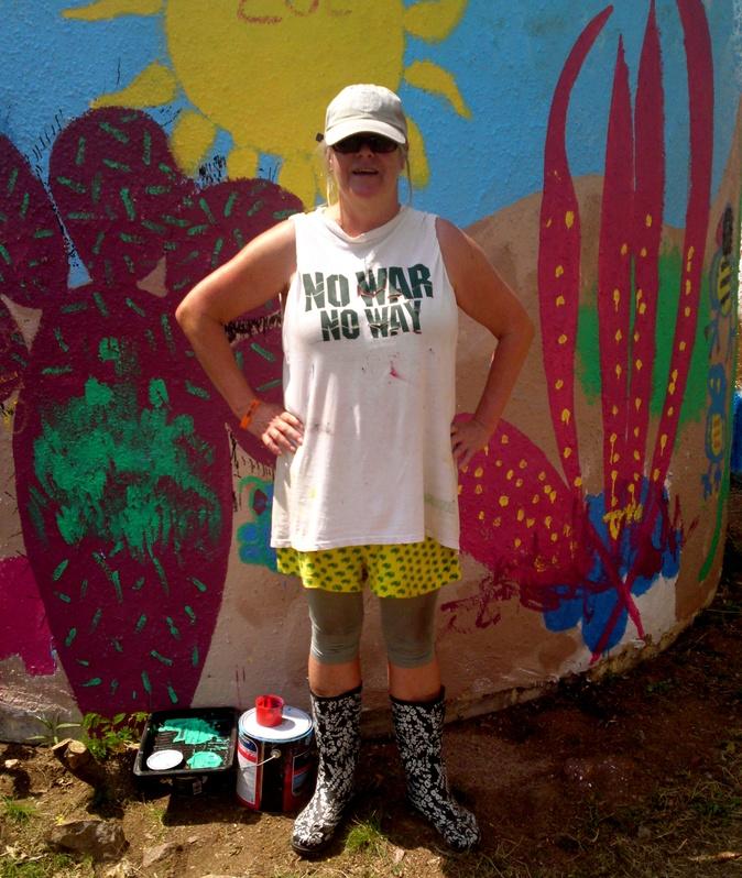 Me lookin' groovy - 'Wild Rocks n Trees' mural at Eagles Art Gallery, Rubyvale, QLD